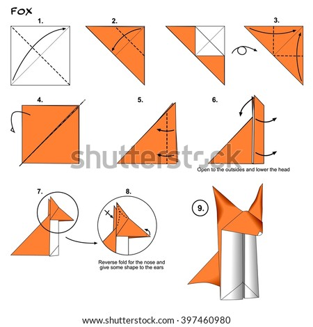 Origami Animal Traditional Fox Instructions Diagram Step By Paper Folding Art