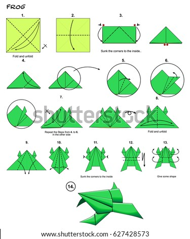 Origami Animal Traditional Frog Diagram Instructions Steps