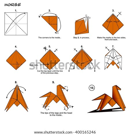 Origami Animal Traditional Horse Diagram Instructions Steps