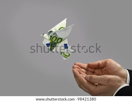 Origami bird made by euro bill, flying away - stock photo