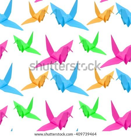 origami bird on white pattern background seamless design - stock photo