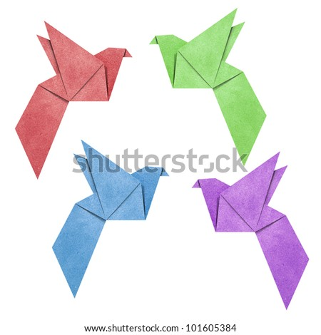 Origami Bird papercreft made from Recycle Paper - stock photo