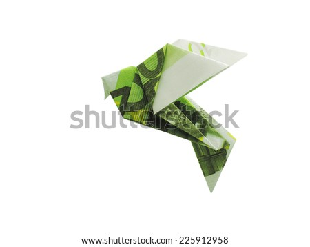 origami birds from 100 euro banknotes - stock photo
