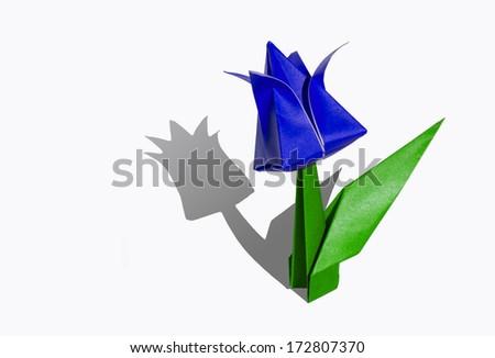 Origami blue flower, tulip, isolated on white - stock photo