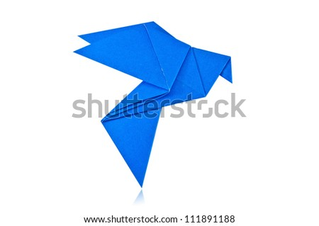 Origami blue paper bird on white background.