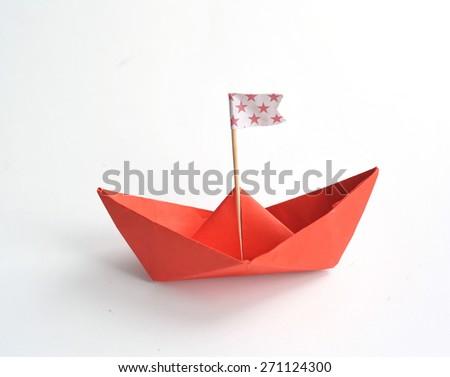 origami boat - stock photo