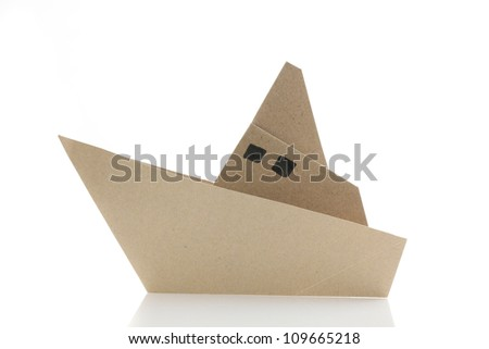 origami boat in white background - stock photo