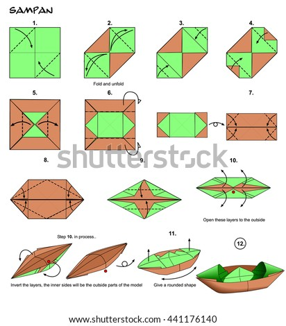 origami animal snake cobra diagram instructions stock