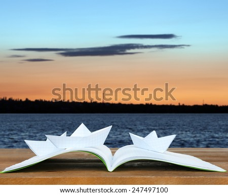 Origami boats on book on nature background - stock photo