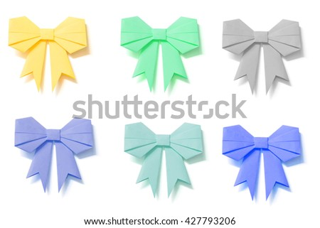 Origami Bows Set Clipping Path Included Stock Photo Royalty Free