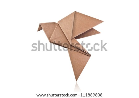 Origami brown paper bird on white background. - stock photo