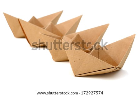 Origami brown paper ships