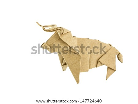 Origami bull recycle paper isolated on white background - stock photo