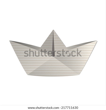 Origami cardboard paper boat on white background