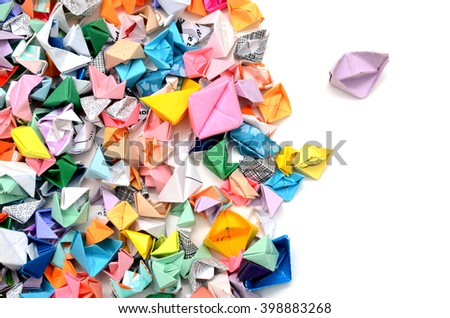 Origami colorful boats background - stock photo