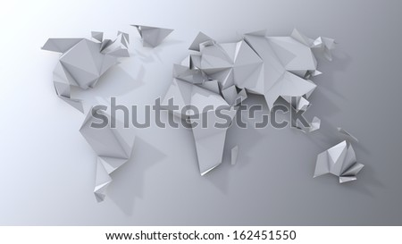 Origami continents scrapbooking. - stock photo