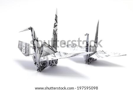 origami crane on white background - stock photo
