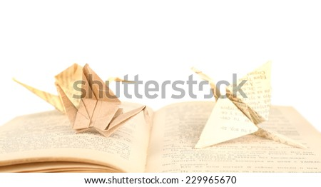 Origami cranes on old book, on white background - stock photo