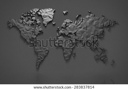 Origami 3D world map isolated with clipping path - stock photo