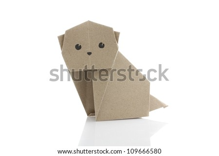 Origami dog by recycle papercraft - stock photo
