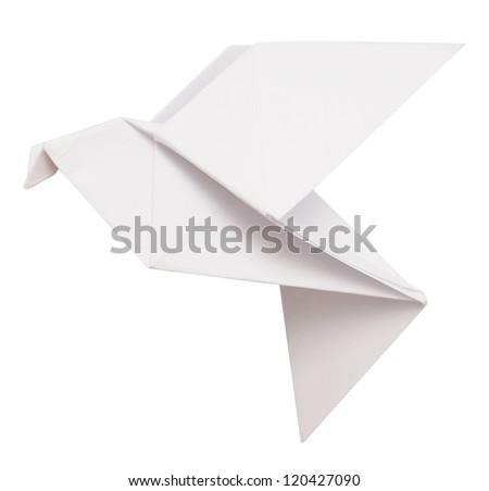 origami dove isolated on white - stock photo