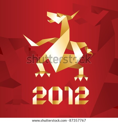 Origami Dragon, 2012 Year - Red&Gold. Bitmap copy my vector ID 85256989 - stock photo
