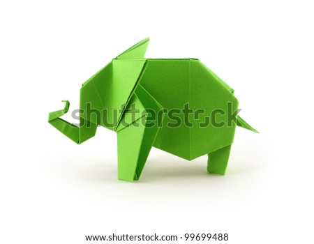 Origami Elephant - stock photo