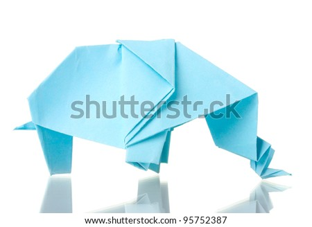 Origami elephant out of the blue paper isolated on white