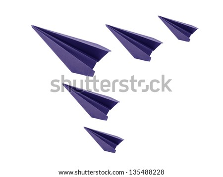 origami five blue  paper planes on white background