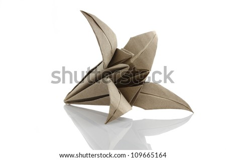 Origami flower by recycle papercraft - stock photo