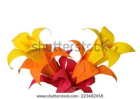 Origami flowers isolated on white background - stock photo