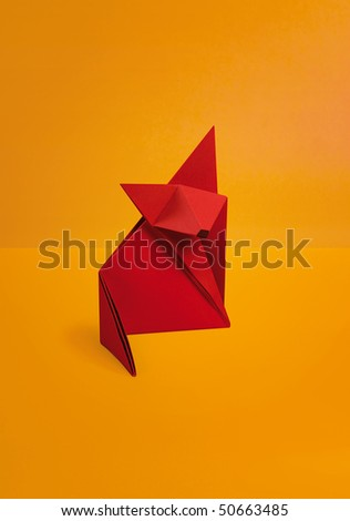 origami fox - stock photo