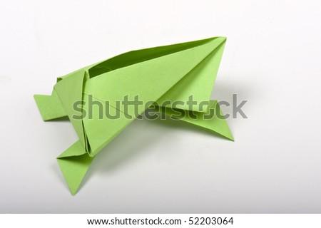 origami frog - stock photo