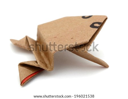 Origami frog by recycle papercraft  - stock photo