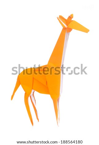 Origami Giraffe on  white background - stock photo