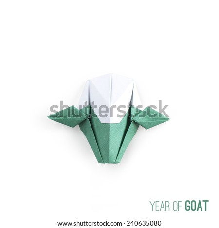Origami goat paper craft on white background for Happy New Year 2015, the year of Goat - stock photo