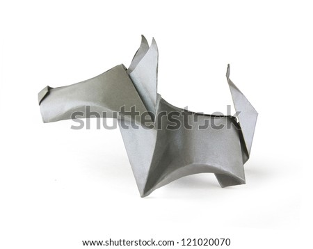 Origami gray dog on a white background