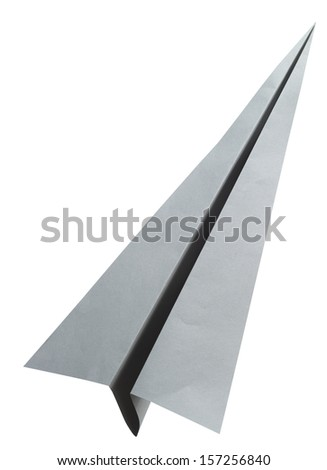 Origami gray paper airplane on white background - stock photo