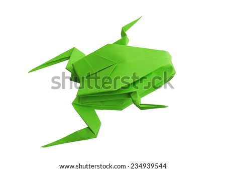 origami green frog isolated on white background - stock photo