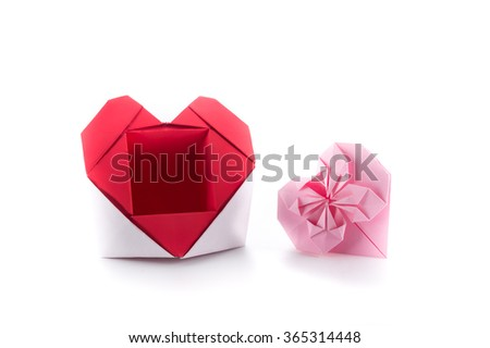origami heart box on white BG