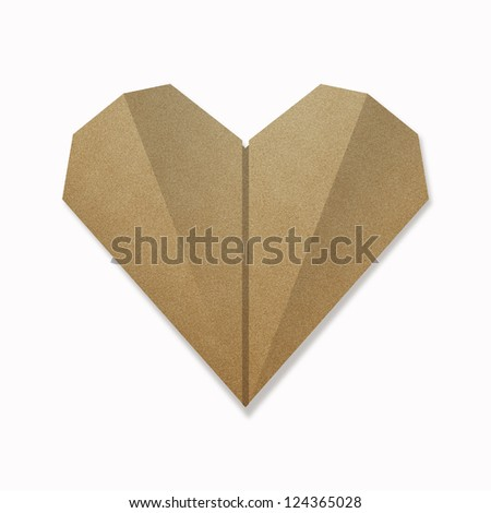 origami heart from recycle paper isolated on white background - stock photo