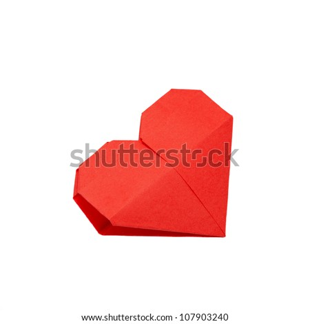 Origami heart. Symbol of Valentine's Day, love and happiness. Can be used as a greeting card. Ready for your logo. Isolated on white background with clipping path - stock photo