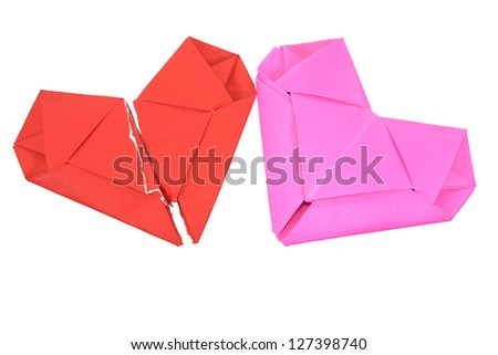 Origami heart.Valentines day. Look through my portfolio to find more images of the same series - stock photo