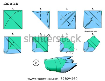 Origami insect traditional cicada diagram instructions stock origami insect traditional cicada diagram instructions steps paper folding art ccuart Image collections