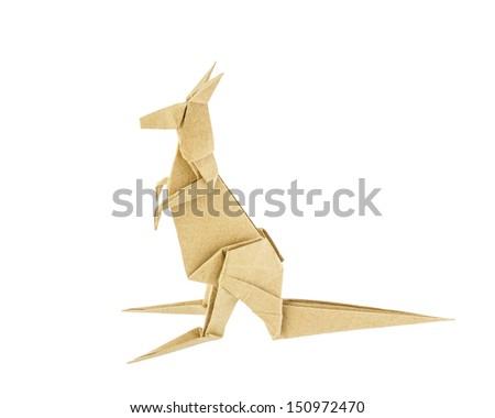 Origami kangaroo recycle paper isolated on white background - stock photo