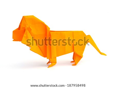 Origami lion isolated on white background - stock photo