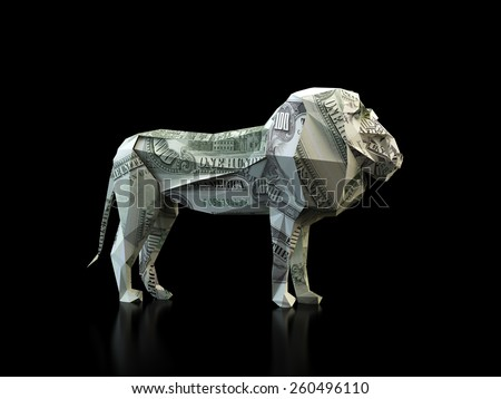 Origami lion made out of a 100 dollar bill - stock photo