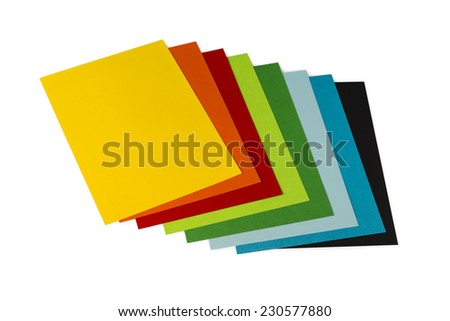origami mixed  colorated papers on white background - stock photo