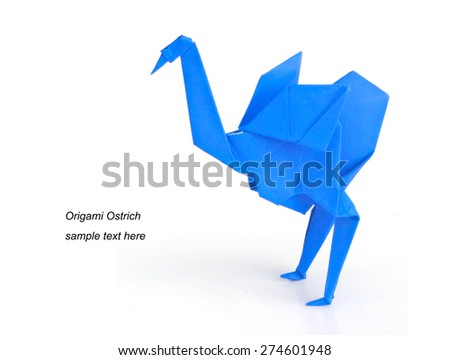 Origami Ostrich from blue paper on white background