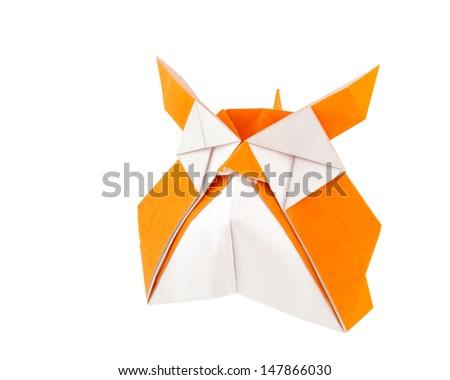 Origami owl isolated on white background - stock photo